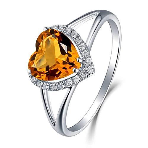 Daesar Fedine Fidanzamento Oro Bianco 18K Anello Donna Vintage 1.43ct Citrino Giallo Cuore Anelli con Diamanti Anelli di Matrimonio in Oro Bianco Misura 17