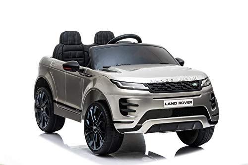havalime Kinder Elektroauto Land Rover Discovery 5 - Lizenziert, 2X 35Watt Motor, Zweisitzer, Ledersitz, Kinderauto, Kinderfahrzeug, Fernsteuerung, MP3 (Silber)