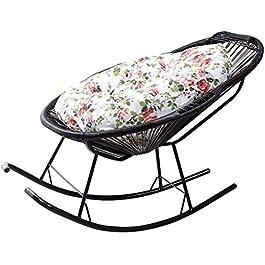 Chaise Longue Pliant de Jardin, Chaise à bascule en rotin noire pour enfants pour enfants adultes pépinière chaises…