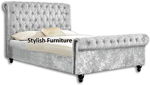 UKBED MANUFACTURER CHESTERFIELD SLEIGH STYLE SILVER UPHOLSTERED CRUSHED VELVET DIAMONDS BEDS FRAMES 4 FT SMALL DOUBLE