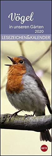 Vögel in unseren Gärten Lesezeichen & Kal. Lesezeichenkalernder 2020. Monatskalendarium. Blockkalender. Format 6 x 18 cm