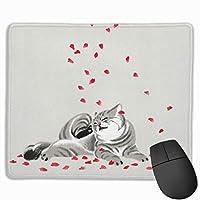 ネコとさくら マウスパッド ゲーミング オフィス最適 防水 耐久性が良い 滑り止めゴム底 マウスの精密度を上がる 25x30cm