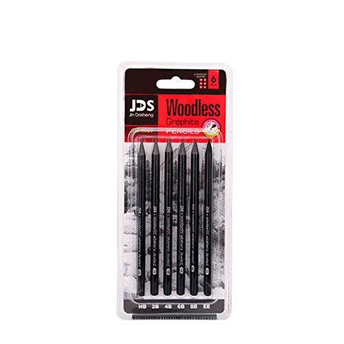 Woodless Charcoal Pencils 6 Piece.HB/2B/4B/6B/8B/EE