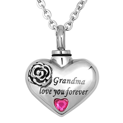 CharmSStory Heart Urn Necklaces for Ashes Grandma Love You Forever Cremation Jewelry