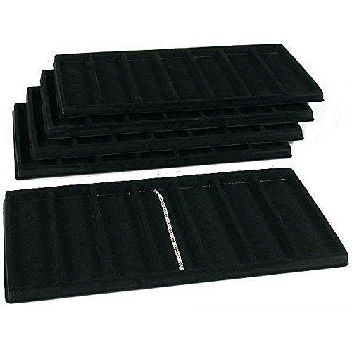 5 inserti per espositori per orologi, a 7 scomparti, colore: nero