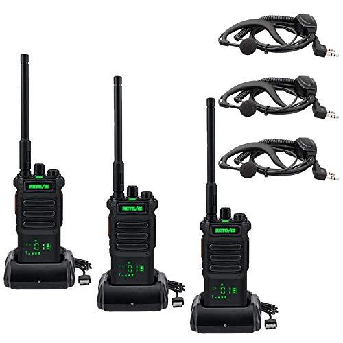 Retevis RT86 Walkie Talkie Larga Distancia con Auricular, 2600mAh Transceptor de Mano Alta Resistencia, VOX Scan Linterna Alarma, Radio de 2 Vías para Seguridad, Sitio de Construcción(Negro, 3Piezas)