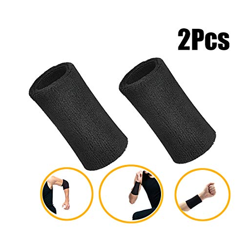 Lvcky 15,2 cm Handgelenk Schweißband Sport Armbänder Elastisch Athletic Baumwolle Handgelenk Bänder für Sport 2er Pack