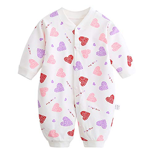 JinBei Pelele Bebé Niñas Mameluco Algodon Pijama Sleepsuit Recien Nacido Mamelucos Manga Larga Mono Caricatura Trajes Pijamas, Impresión de Corazón de Color 0-3 Meses