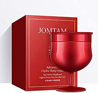 JOMTAM Red Wine Sleep Mask Hydro Sleeping Pack Super Moisture Wash Free Smooth Face Mask Skin Care, 150g