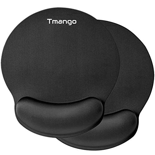 TMANGO 2 Pack Ergonomic Mouse Pads with Wrist Rest, Comfortable Mouse Mat and Non-Slip Rubber Base for for Computer or Laptop Mouse, Home, Office or Travel, Black