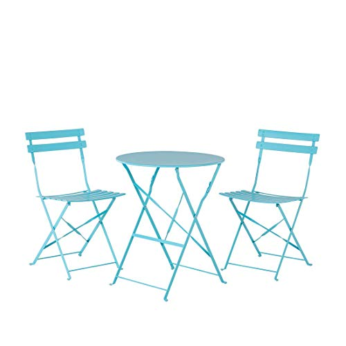 Outdoor Patio 3 Piece Bistro Set Blue Steel Round Table and Chairs Fiori