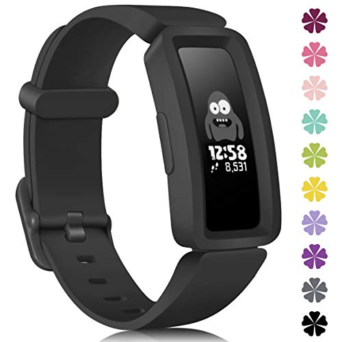 KOLEK Bands Compatible with Fitbit Ace 2 for Kids,Soft Silicone Waterproof Bracelet Accessories Sports Watch Strap Wristbands Replacement for Fitbit Ace 2 Boys Girls,Black