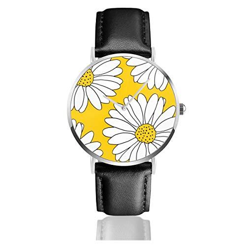Armbanduhr, gelbe und weiße Gänseblümchen, Quarzuhrwerk, Edelstahl, Lederarmband