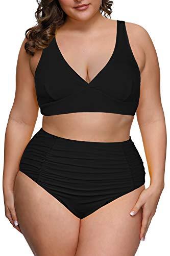 Pink Queen Women's Plus Size Swimwear High Waisted Swimsuits Ruched Tummy Control Bikini Set Black 4XL