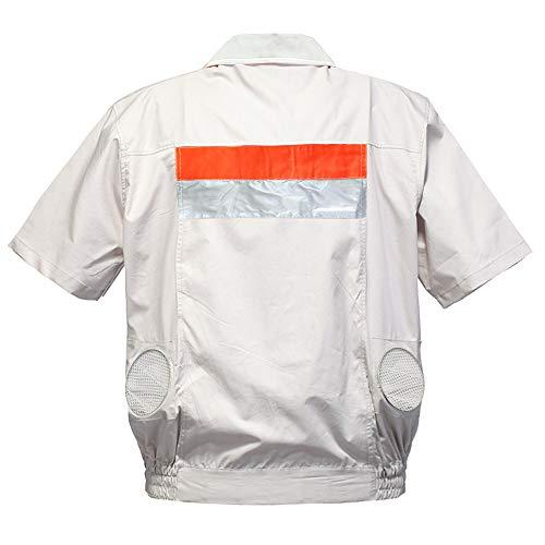 空調 作業服 熱中症対策 扇風機 作業着 半袖ブルゾン ファン付き作業着 作業服 上着 ワークマン 空調服 パーカー 半袖ジャケット (単品) オレンジ XL