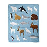 rouihot 60x80 Inches Flannel Throw Blanket Arctic Animals Collection with Reindeer Orca Narwhal Shark Musk Ox Fox Wold Puffin Home Decorative Warm Cozy Soft Blanket for Couch Sofa Bed