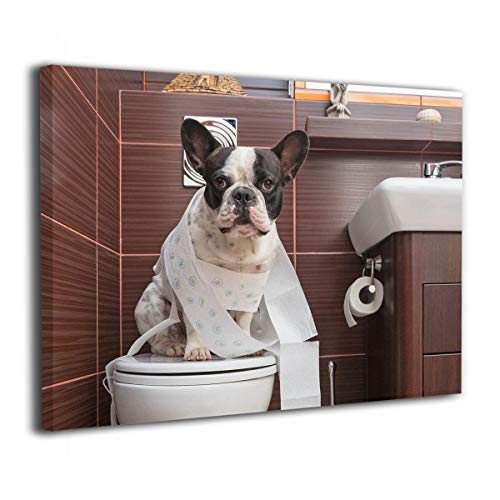 Ale-art French Bulldog Sitting On Toilet Canvas Paintings Wall Art Decor for Living Room Bedroom Home Decorations Modern Stretched and Framed Giclee Canvas Pictures Prints Artwork 16'x20'