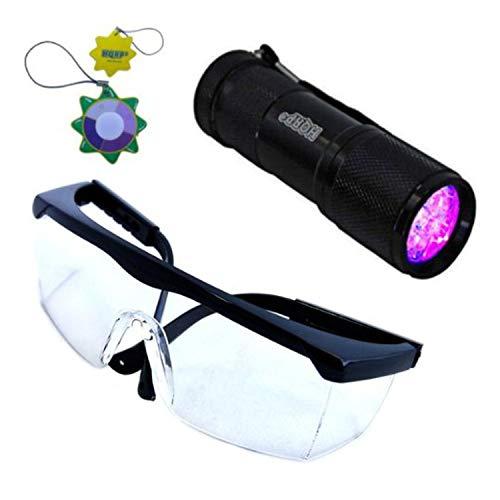 HQRP Profesional Linterna 9 LED UV Ultravioleta 365 nM Antorcha lámpara más HQRP Gafas protectoras + HQRP Medidor de luz del sol