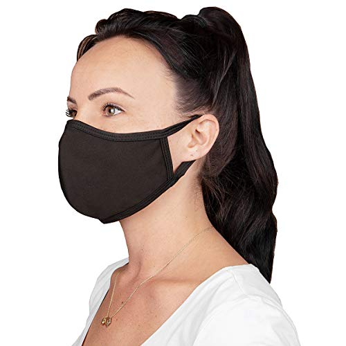 5 Stück Gesichtsbedeckung Mundschutz Prävention gegen Spritz-/ Tröpfchenkontakt im Mund und Nasenbereich Baumwolle atmungsaktiv wiederverwendbar waschbar (schwarz 2)