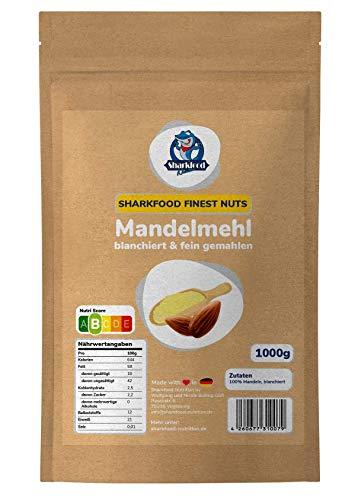 Premium Mandelmehl 1 KG - fein gemahlen, naturbelassen & nicht entölt, aus blanchierten Mandeln (weiß) - Low Carb & Keto geeignet - Vollfett zum Backen & Kochen - 1000 g