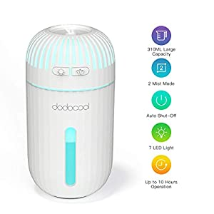 Humidificador dodocool, Humidificadores Ultrasónicos de 310ML con 7-Color LED para Coche, Casa, Oficina, Bebé, Baño y Spa, Cierre Automático