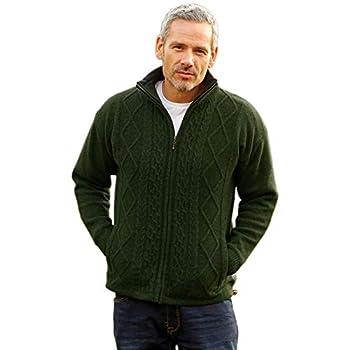 Irish Aran Wool Cardigan for Men Made in Ireland Classic Style  Medium  Green