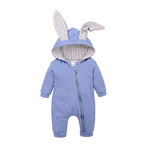 SERAPHY WOOKIT Peleles de Bebé con Lindas Orejas de Conejo, Niños Niñas Pijama de Algodón de Manga Larga 0-18 Meses, Trajes de Recién Nacido con Cierre de Cremallera Frontal