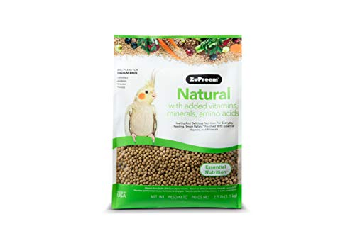 ZuPreem Natural Bird Food for Medium Birds, 2.5 lb Bag | Made in The USA, Essential Vitamins, Minerals, Amino Acids for Cockatiels, Quakers, Lovebirds, Small Conures