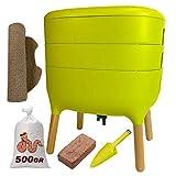 Urbalive Green Kit completo I Design Wormery I 500gr de compostaje de gusanos I Starter Sustrato I Alfombra de cáñamo + Pala I Interior, balcón y jardín