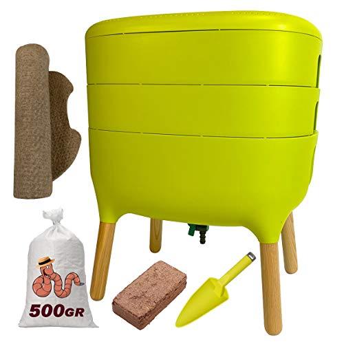Urbalive Green Kit completo I Design Wormery I 500gr de compostaje de gusanos I Starter Sustrato I...