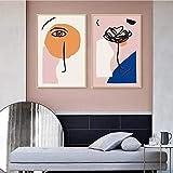 JIAJIFBH Arte de Pared Abstracto 2 piezas50x70cm sin Marco Escandinavia Abstracta Cálida geométrica Arte de Pared Imágenes Impresión de póster para Sala de Estar Decoración del hogar Interior