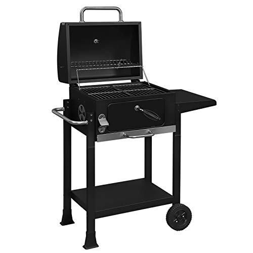 41hQCnaqxhL. SS500  - SONGMICS Garden Barbecue Grill, Charcoal BBQ with Front Door, Adjustable Height for Charcoal Tray, Handle and Wheels, Black GBQ42BK
