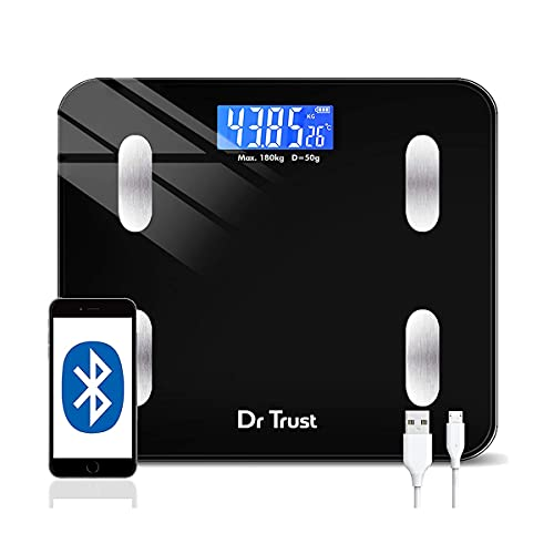 Dr Trust Digital Smart Electronic Rechargeable Bluetooth Fitness Body Composition Monitor Fat Analyzer Weight Machine and Weighing...