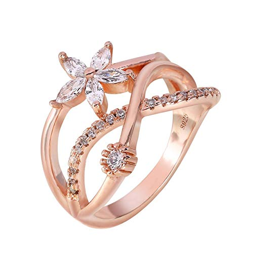 Eleganter Verlobungsring für Hochzeit, Solitär aus Zirkonia, roségold, für Frauen und Mädchen