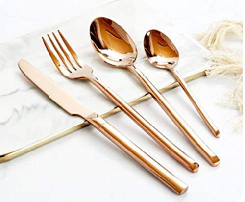 Set di 24 Posate Set di Posate in Acciaio Inossidabile 304 Coltello da Bistecca Occidentale Cucchiaio da forchetta-Oro Rosa per Matrimoni, Feste, San Valentino, Servizio per 6 Persone