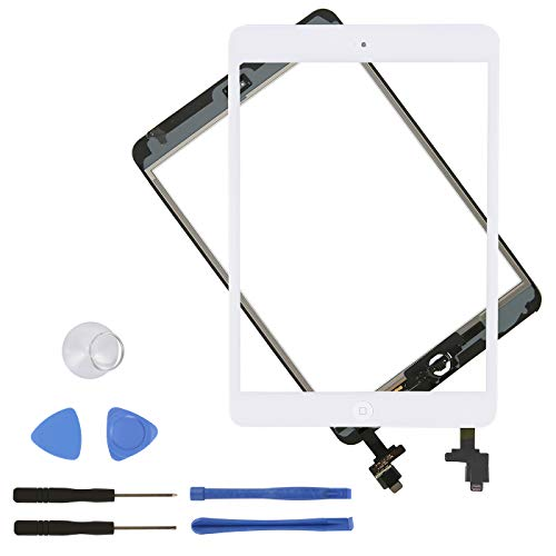 HDE Touch Screen Digitizer for iPad Mini 1 and 2 - Front Glass Replacement with Home Button & Tool Repair Kit (Models: A1432, A1454, A1455, A1489, A1490, A1491) - White