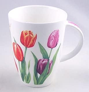 Red Tulip Chintz Fine English Bone China Mug - Large 14 ounce Louise Shape - England