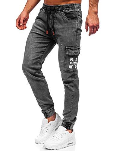 BOLF Hombre Pantalón Vaquero Cargo Jogger Denim Jeans Pantalón de Mezclilla Skinny Vaqueros Sombreado Vaqueros Ajustados de Algodón Slim Fit Estilo Urbano Red Fireball HY895 Negro M [6F6]