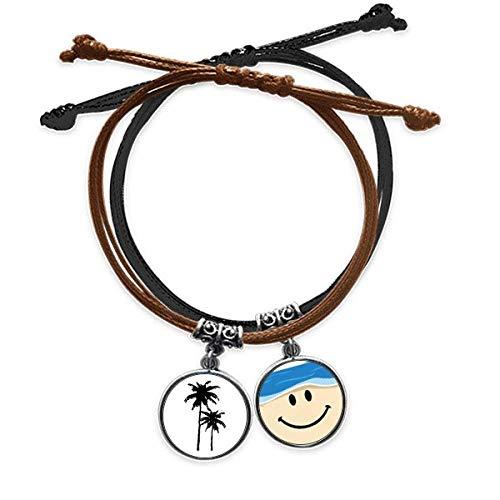 Pulsera de piel con forma de árbol de coco y diseño de plantas de playa, cuerda para la mano