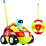 Haktoys My First RC Cartoon Race Car with Music Button and Headlights Great Gift Racing Action Figure Radio Control Toy for Toddlers and Kids