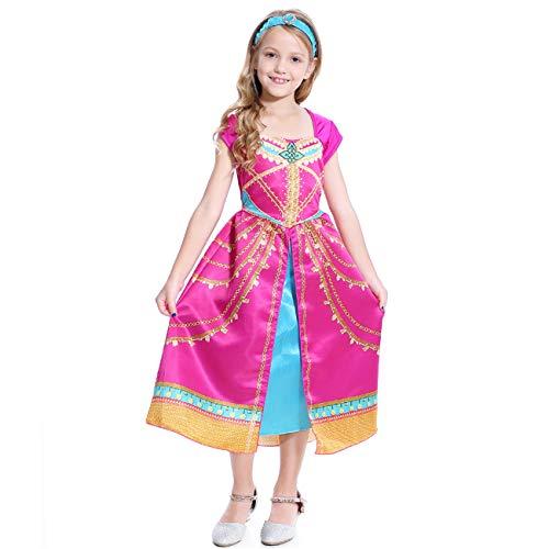 O.AMBW Girl Princess Jasmine Cosplay Dance Dress Up Aladdin Costume Party Adventure Costume Red Print Parent-Child Dress Lady Dress, Hairband, 3-10 Years Old