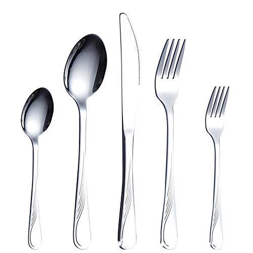 ZUEN Besteck Set 5 Stück Silber Besteck Set Mit Mahlzeiten Heavy Duty Edelstahl-Geräte Können Für Geschirrspüler Reinigung (2ST) Verwendet Werden