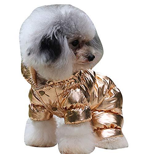 YAOTT Abrigo Forrado de Polar para Perros de Invierno Chaqueta Impermeable de Plumas para Cachorros Gatos Ropa Acolchada para Mascotas Pequeños Dorado L