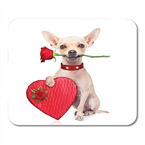 Mousepad Rode Chocolade Valentines Chihuahua Hond Holding Rose Mond En Doos Dag Decor Office 25X30Cm Nonslip Muis Mat Rubber Backing Mousepad Gaming Mouse Pad