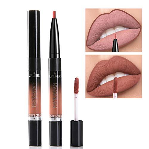 Lenfesh Damen Lippenstift 2 in 1 Samt Matt Lippenstift Lipgloss Double-End Makeup Super Stay Matte Ink, Lippenstift Lippen Konturenstifte Lipglosse