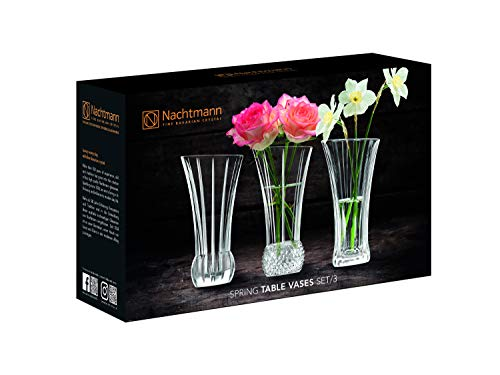 Spiegelau & Nachtmann, 3-teiliges Tischvasen-Set, Kristallglas, Höhe: 13,6 cm, Spring, 103242
