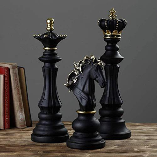 Skulptur,3 Stück Harz Schachfiguren Brettspiele Zubehör Konfigurationsgeschenke Ornament Crafts Home Office Schreibtisch Garten