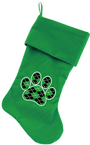 Mirage Pet Products Argyle Paw Green Screen Print Velvet Christmas Stocking Green, 18'