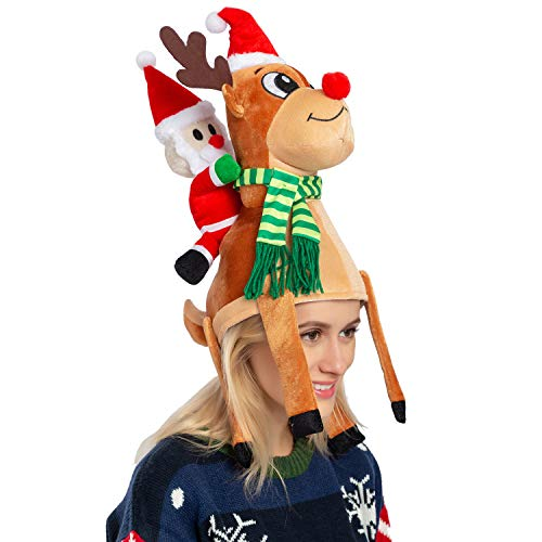 JOYIN Christmas Reindeer Hat Santa Riding a Reindeer for Cute and Festive Christmas Party Dress Up Celebrations, Decorations, Costume Accessories Brown