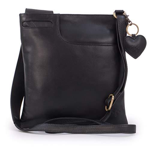 Gigi - Women's Leather Cross Body Handbag - Shoulder Bag with Long Adjustable Strap - OTHELLO 2057 - with heart keyring charm - Black